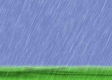 De achtergronden van het regenonweer in bewolkt weer met groen gras Royalty-vrije Stock Foto's