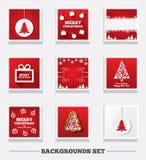 De achtergronden van Kerstmis Boom en giftdoos Stock Afbeeldingen