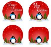 De Achtergronden van Kerstmis van de pinguïn Royalty-vrije Stock Foto's