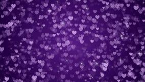 De Achtergrondlijn van Violet Hearts en Fonkelingen stock footage