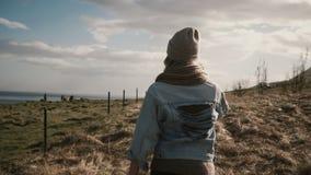 De achtermening van het jonge modieuze vrouw lopen op de aard, buiten de stad door het gebied dichtbij de paarden bewerkt stock footage