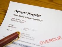 De achterstallige Rekening van de Gezondheidszorg van het Ziekenhuis Stock Afbeelding