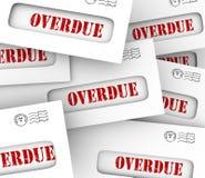 De achterstallige Rekeningen stapelen de Sanctieprijzen op van de Enveloppen Recente Betaling vector illustratie