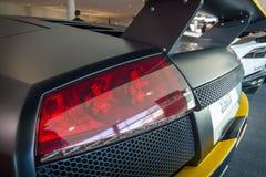 De achterstoplichten van sportwagen Lamborghini Murcielago PL650R, 2007 Stock Fotografie
