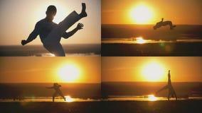 De acrobatische atleet is bezig geweest met capoeira op de achtergrond van een oranje zonsondergang - 4 in 1 Royalty-vrije Stock Afbeelding