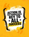 De actie is de grondsleutel aan al succes Het inspireren Creatief de Affichemalplaatje van het Motivatiecitaat Vector banner vector illustratie