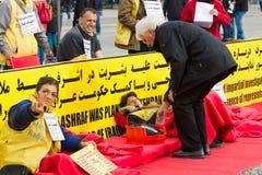 De actie ( honger strike) Iraanse dissidenten stock foto
