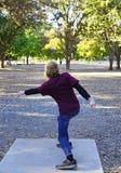 De Actie van het Frisbeegolf royalty-vrije stock foto