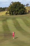 De Actie van het golfmeisje Stock Foto's