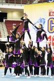 De Actie van het Kampioenschap van Cheerleading Stock Afbeeldingen