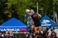 Het Rugby Outeniqua van de Bal van de speler lijn-uit stock foto's