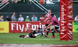 De Actie van het Rugbysevens van mensen stock afbeelding