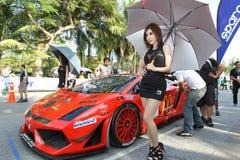 De actie van Lamborghini Gallardo in de super reeks van Thailand stock afbeeldingen