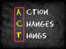 De actie verandert Dingen (HANDELING), bedrijfsconcept stock illustratie