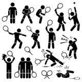 De Acties van de tennisspeler stelt Houdingen Cliparts Royalty-vrije Stock Foto's