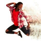 De actieve jonge die sprongen van de vrouwendanser in de lucht over witte B wordt geïsoleerd Royalty-vrije Stock Afbeelding