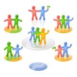 De actieve multicolored mensen in mededeelzaam stellen. Stock Foto's