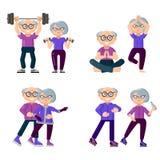 De actieve oudere mensen zijn bezig geweest met sporten Reeks sporten voor de bejaarden stock illustratie