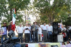De activist Javier Sicilia spreekt in protest Royalty-vrije Stock Afbeeldingen