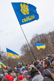 De activisten van Evromaydanverzamelingen in de Oekraïne Stock Afbeeldingen