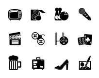 De activiteit en de objecten van de silhouetvrije tijd pictogrammen Stock Foto's