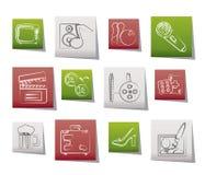 De activiteit en de objecten van de vrije tijd pictogrammen Royalty-vrije Stock Afbeelding