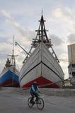 De activiteit van de havenarbeid in haven Stock Foto's
