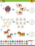 De activiteit van de toevoegingswiskunde met dieren vector illustratie