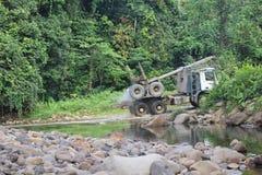 De activiteit van het houtbedrijf in Noord-Borneo royalty-vrije stock afbeelding