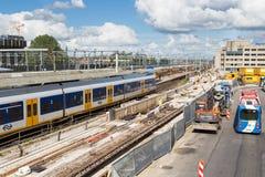 De activiteiten van de bouw bij de nieuwe centrale post van Utrecht, Nederland Royalty-vrije Stock Afbeeldingen