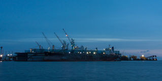 De activiteiten van de haven in Hamburg Royalty-vrije Stock Foto