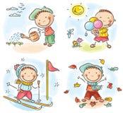 De activiteiten van de jongen tijdens de vier seizoenen vector illustratie