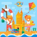 De activiteiten van de kinderens zomer bij het strand Vlakke vectorillustratie Stock Afbeelding