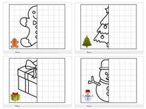 De activiteitenblad van het Kerstmisthema - Symmetrisch beeld stock illustratie
