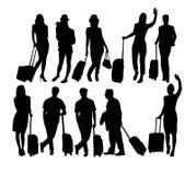 De Activiteitensilhouetten van reizigersmensen Stock Afbeeldingen