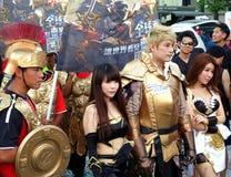 De actoren bevorderen Conflict van Koningenspel stock foto