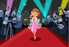 De Actrice van Hollywood op het rode tapijt stock illustratie