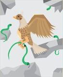 De adelaar op groene slangen te jagen Stock Afbeeldingen