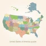 De administratieve kaart van de V.S. - raadsel Stock Afbeelding