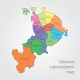 De administratieve kaart van Moskou Stock Foto