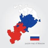 De administratieve kaart van Moskou - raadsel Royalty-vrije Stock Foto's