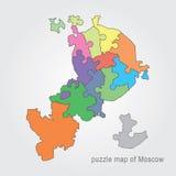 De administratieve kaart van Moskou - raadsel Stock Foto's