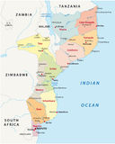 De administratieve kaart van Mozambique Stock Fotografie