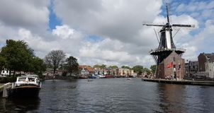 De Adriaan wiatraczek w Haarlem fotografia royalty free