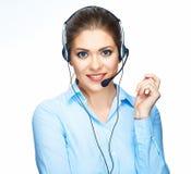 De adviseur die van de call centreexploitant met microfoon spreken Stock Afbeeldingen
