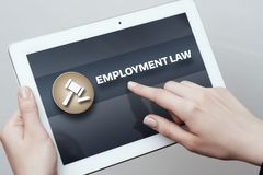 De Advocaat Business Concept van arbeidsrechtrechtsregels stock foto's