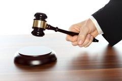 De advocaat spreekt een oordeel uit stock afbeeldingen
