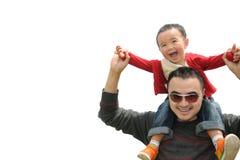 De affectie van de vader en van de zoon Stock Foto