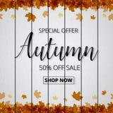 De affiche of de banner van de de herfstverkoop voor het winkelen met esdoornblad en D royalty-vrije illustratie