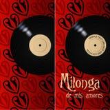 De affiche en de vlieger van Milonga Royalty-vrije Stock Afbeeldingen